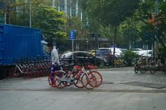 Shenzhen, China: workers carry bicycles in the street. Workers place bicycles in the street, this is mobike stock images