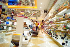 Shenzhen china: xixiang pedestrian street of new shoe store Stock Photo