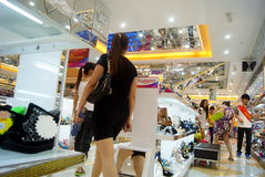 Shenzhen china: xixiang pedestrian street of new shoe store Stock Images