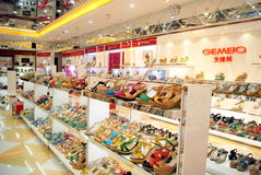 Shenzhen china: xixiang pedestrian street of new shoe store Royalty Free Stock Photos