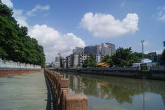 Shenzhen, China: Xixiang river landscape and buildings Royalty Free Stock Photography