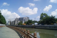 Shenzhen, China: Xixiang river landscape and buildings Stock Photo