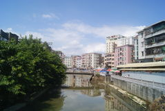 Shenzhen, China: Xixiang River and old building Stock Images
