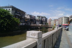 Shenzhen, China: Xixiang River and old building Stock Photography