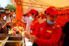 Shenzhen, China: Xixiang temple fair, traditional food tasting Stock Photo