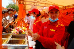 Shenzhen, China: Xixiang temple fair, traditional food tasting Stock Photos