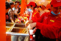 Shenzhen, China: Xixiang temple fair, traditional food tasting Royalty Free Stock Photo