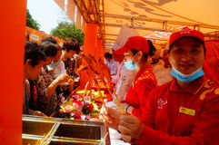Shenzhen, China: Xixiang temple fair, traditional food tasting Stock Image