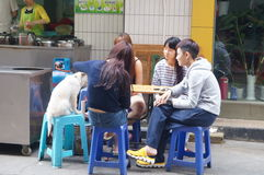 Shenzhen, China: young people in the snack bar Royalty Free Stock Photography