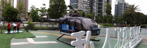 Shenzhen, China: youth general aviation dream aviation science and technology education base landscape. Weekend, the landscape of aviation science and technology stock photo