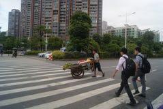 Shenzhen, China: zebra line traffic Stock Photography