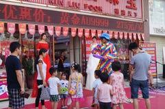 Shenzhen, Chine : activités promotionnelles de magasin de bijoux de jade Image libre de droits