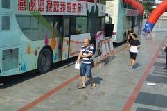 Shenzhen, Chine : activités volontaires de don du sang Image libre de droits