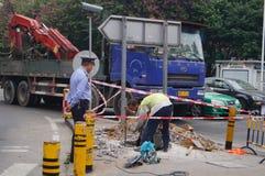 Shenzhen, Chine : construction de trottoir Photographie stock libre de droits