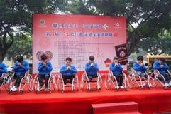 Shenzhen, Chine : exposition d'activité de don du sang Image libre de droits