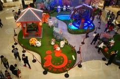 Shenzhen, Chine : Exposition de moutons d'Art Painting de bruit Images libres de droits