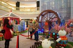 Shenzhen, Chine : Exposition de moutons d'Art Painting de bruit Photographie stock