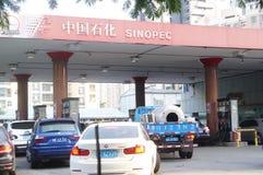 Shenzhen, Chiny: auto benzynowa stacja Obrazy Royalty Free