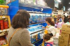 Shenzhen, Chiny: Centrów handlowych akwaria zdjęcie royalty free