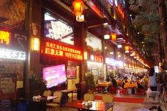 Shenzhen, Chiny: jedzenie opóźnia w nocy Obrazy Royalty Free