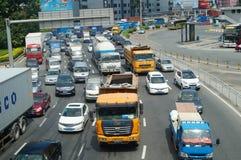 Shenzhen, Chiny: ruchów drogowych dżemów krajobraz Fotografia Stock