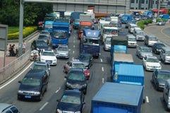 Shenzhen, Chiny: ruchów drogowych dżemów krajobraz Zdjęcia Stock