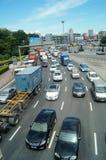 Shenzhen, Chiny: ruchów drogowych dżemów krajobraz Obrazy Royalty Free