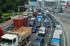 Shenzhen, Chiny: ruchów drogowych dżemów krajobraz Zdjęcie Stock