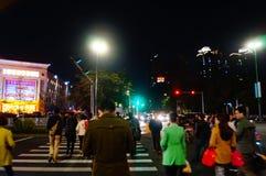Shenzhen, Chiny: uliczny noc krajobraz Fotografia Royalty Free