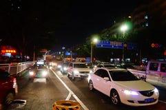 Shenzhen, Chiny: uliczny noc krajobraz Zdjęcie Royalty Free