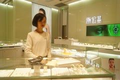 Shenzhen, Chiny: złoto srebny sklep jubilerski Obraz Stock