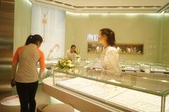 Shenzhen, Chiny: złoto srebny sklep jubilerski Obraz Royalty Free