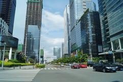 Shenzhen, Cina: costruzioni urbane e paesaggio di traffico urbano Immagini Stock