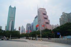 Shenzhen, Cina: edificio urbano e paesaggio di traffico Immagini Stock Libere da Diritti