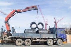 Shenzhen, Cina: il cantiere della gru a torre Fotografie Stock Libere da Diritti