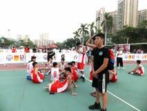 Shenzhen, Cina: Paesaggio della partita di pallacanestro del giocatore di KFC tre fotografia stock
