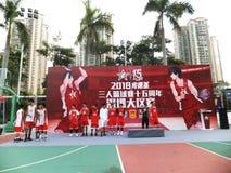 Shenzhen, Cina: Paesaggio della partita di pallacanestro del giocatore di KFC tre fotografie stock libere da diritti