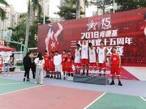 Shenzhen, Cina: Paesaggio della partita di pallacanestro del giocatore di KFC tre immagini stock libere da diritti