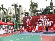 Shenzhen, Cina: Paesaggio della partita di pallacanestro del giocatore di KFC tre immagine stock