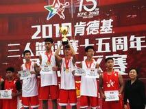 Shenzhen, Cina: Paesaggio della partita di pallacanestro del giocatore di KFC tre fotografie stock