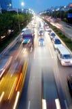 Shenzhen, Cina: Paesaggio di traffico stradale di notte 107 Fotografia Stock
