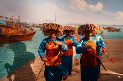 Shenzhen, Cina: Paesaggio sposato antico della scultura Fotografie Stock Libere da Diritti