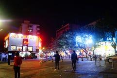 Shenzhen, Cina: scena della via di notte Immagini Stock Libere da Diritti