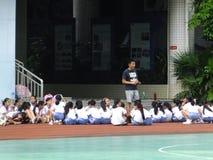 Shenzhen, Cina: studenti della scuola primaria nella classe di educazione fisica Immagine Stock Libera da Diritti
