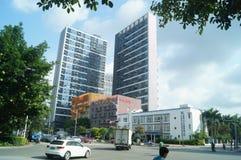 Shenzhen, Cina: traffico stradale urbano e paesaggio urbano delle costruzioni Immagini Stock Libere da Diritti