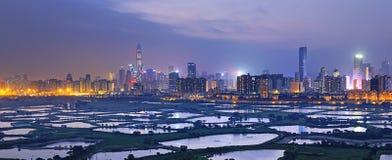 Shenzhen-citscape nachts stockbild