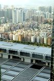 Shenzhen city aerial view. Aerial view of Shenzhen city in China. Modern exhibition center and residential areas with small buildings, far behind modern Stock Photo