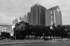 Shenzhen city at dusk black and white image Royalty Free Stock Photography