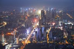Shenzhen city in night light. Bird view Stock Photos