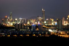 Shenzhen city - night scenery. China, Guangdong province, Shenzhen city - night cityscape, general view of Futian and Luohu district with highest skyscrapers and Royalty Free Stock Photography